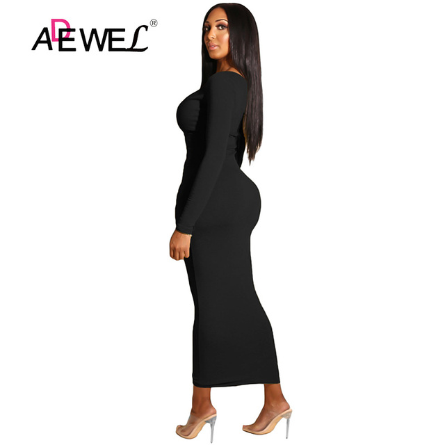 ADEWEL 2018 Sexy Yellow Long Sleeve Bodycon Party Maxi Dress Women Casual Slim Snap Button Ribbed Ankle Length Long Dress 3