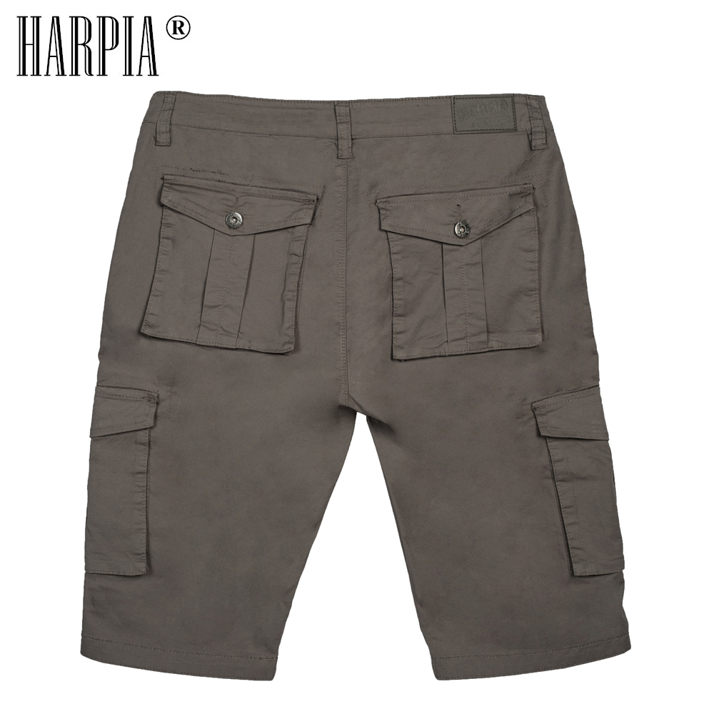 HARPIA Men Cargo Shorts 2018 Summer Mens Cotton Mid Waist Loose Classic Pocket Shorts Male Bermuda Stretch Straight Short Pants