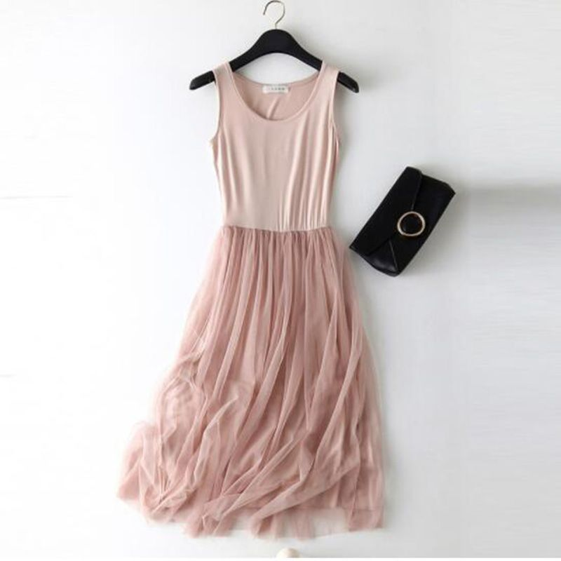 Sleeveless Mesh patchwork basic spaghetti strap Dress For Women 2020 Spring Tulle Elastic Lace Vest Summer Dress Female