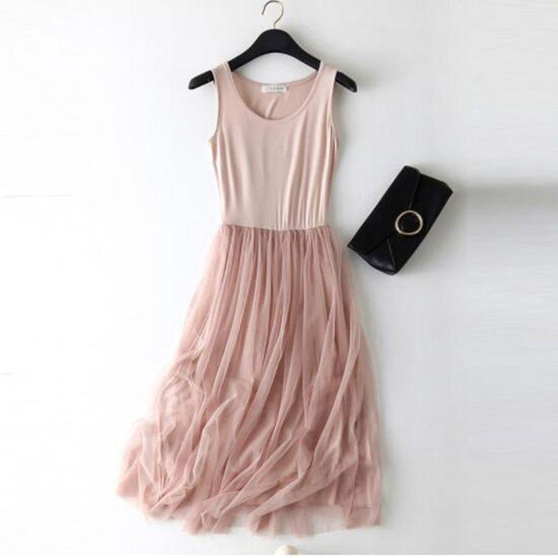 Sleeveless Mesh Patchwork Basic Spaghetti Strap Dress For Women 2020 Spring Tulle Elastic Lace Vest Summer Dress Female