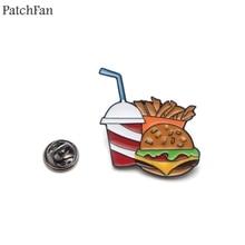 Patchfan Hamburger chips Drinks Zinc Enamel pin Trendy medal para backpack shirt clothes bag brooches badges for men women A1823