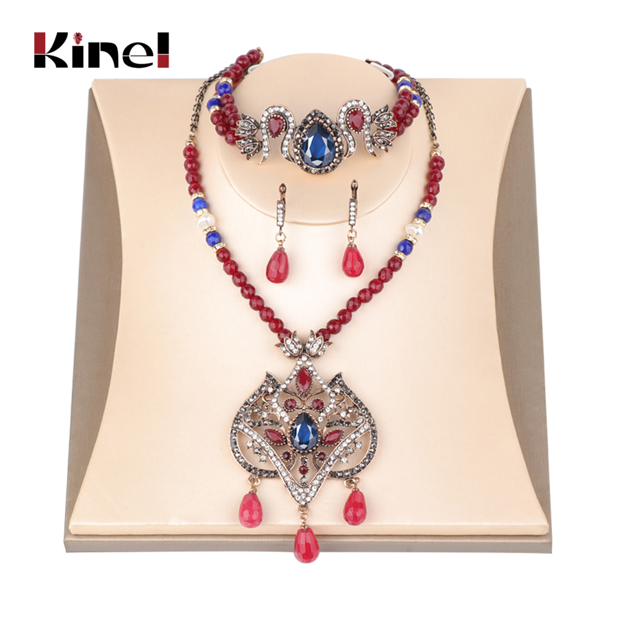 Kinel Luxury Natural Stone Indian Ethnic Jewelry Set Women Exaggerated Necklace Crystal Bracelet Earring Vintage Wedding Jewelry in Jewelry Sets from Jewelry Accessories