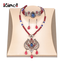 Kinel Luxury Natural Stone Indian Ethnic Jewelry Set Women Exaggerated Necklace Crystal Bracelet Earring Vintage Wedding Jewelry цена