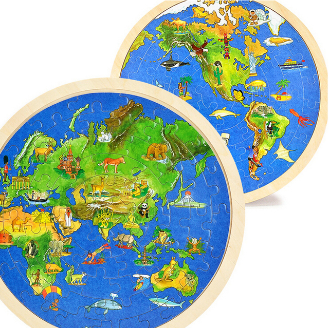 Kids toys wooden double world map puzzle educational toys for kids toys wooden double world map puzzle educational toys for children early education puzzle geographical knowledge gumiabroncs Gallery
