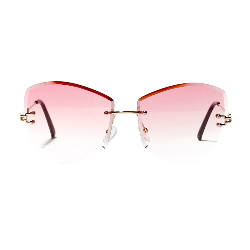 Women Man Rimless Cat Eye Diamond-shaped Frameless Sun Glasses Clear  Colored Lens Festival Casual Sunglasses 2019 New