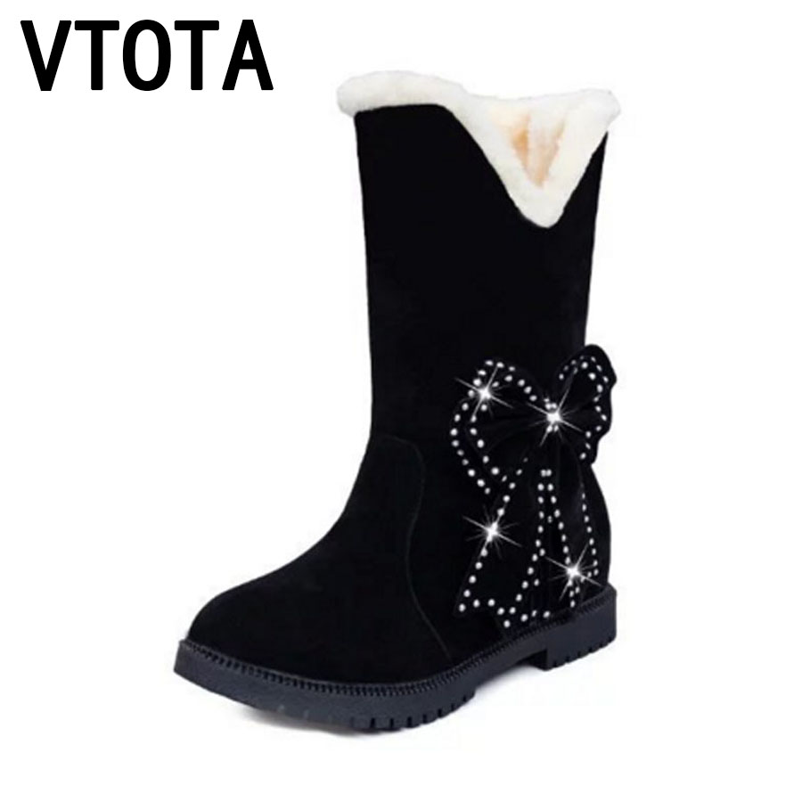 VTOTA Women Winter Shoes Student Warm Snow Boots Flat Ankle Boots Butterfly Casual Shoes Botas Mujer Red Velvet Shoes Woman E77 vtota snow boots women winter boots hot warm fur flat platform shoes women slip on shoes for women botas mujer ankle boots e62