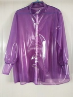 Latex Rubber Women Gummi Professional Women Shirt Uniforms Jacket Purple XXS XXL