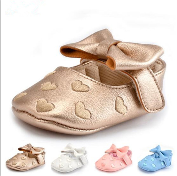 2017 Fashion Lovely Heart Baby Girls Princess Shoes Soft Sole Infants Bebe Prewalkers Crib Shoes