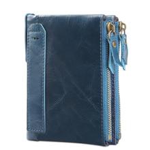 Sale RFID Small Female Purse short purse genuine leather Snap Fastener Zipper Short Clutch Wallet Solid Vintage Women
