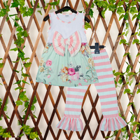 Girls 3 Pcs Clothing Sets Sleeveless Floral With Bow Top Stripes Ruffle Pants Boutique Children New
