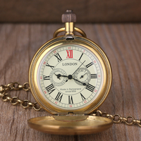 Fashion Copper Train London Pocket & fob Watches Mechanical Watch Hand Wind Skeleton Mens Pocket Watch With Chain Xmas Gift
