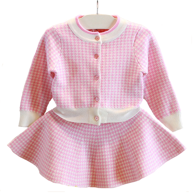 Nacolleo Girl Clothing Sets Knitted Suits Long Sleeve Plaid Coats+Skirts 2Pcs Kids Suits Autumn Sweater Sweater Girls Sets 3-8 garyduck girls clothing sets kids knitted suits long sleeve houndstooth tops skirts 2pcs for girls suits