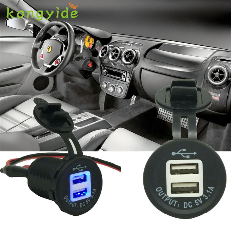 2018 hot sale car-charger Cargador de coche Dual USB Motorcycle Phone Power Supply LED Charger Waterproof Port Socket car
