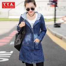 Autumn Hooded Women Jacket Loose Fit Long Style Preppy Denim Female Outwear Coat Zipper Washed Scratch Jeans Casaco Feminino