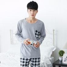 ee69e8abaf Men s Pajamas Autumn Winter Long Sleeve Home Wear Thin Cotton Plaid Pyjamas  Men Lounge Pajama Sets