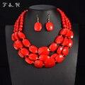 4 Cores Contas Africanas Conjuntos de Jóias Multi layer Beads Indiano Conjuntos de Jóias de Luxo Declaração Gargantilha Colar Moda Jóias