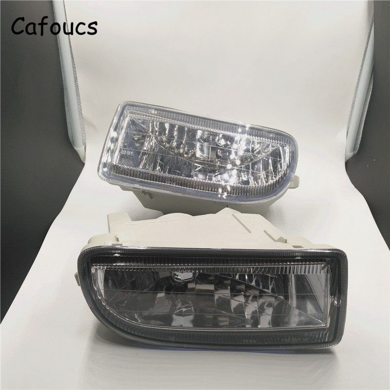 Cafoucs Car Front Bumper Fog Light For Toyota Land Cruiser Prado 100 HDJ100 1998-2007 Driving Lamp With Bulbs 1set front chrome housing clear lens driving bumper fog light lamp grille cover switch line kit for 2007 2009 toyota camry