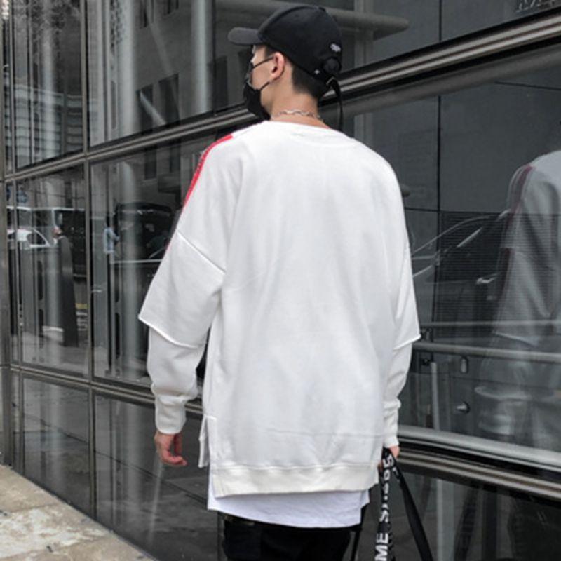 New Fashion Cool Men Sweatshirt High Street Pullover Streetwear Hip Hop Male Loose Men Clothing Black White in Hoodies amp Sweatshirts from Men 39 s Clothing
