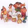 12 unids Disney Kids Regalos De Navidad Personalizadas Moana Princesa Anna Romance Marino Anime Figuras de Juguete Muñeca de la Decoración de Juguetes para Los Niños