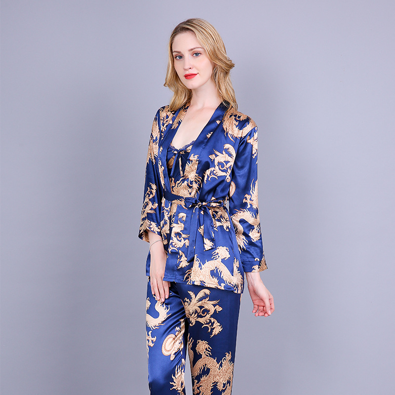3 PIECE Printing Dragon   Pajama     Set   Silk Night Wear Pijama Suit Bathrobe Women Lingerie Pyjama Bride Robe Satin Kimono Robe Femme