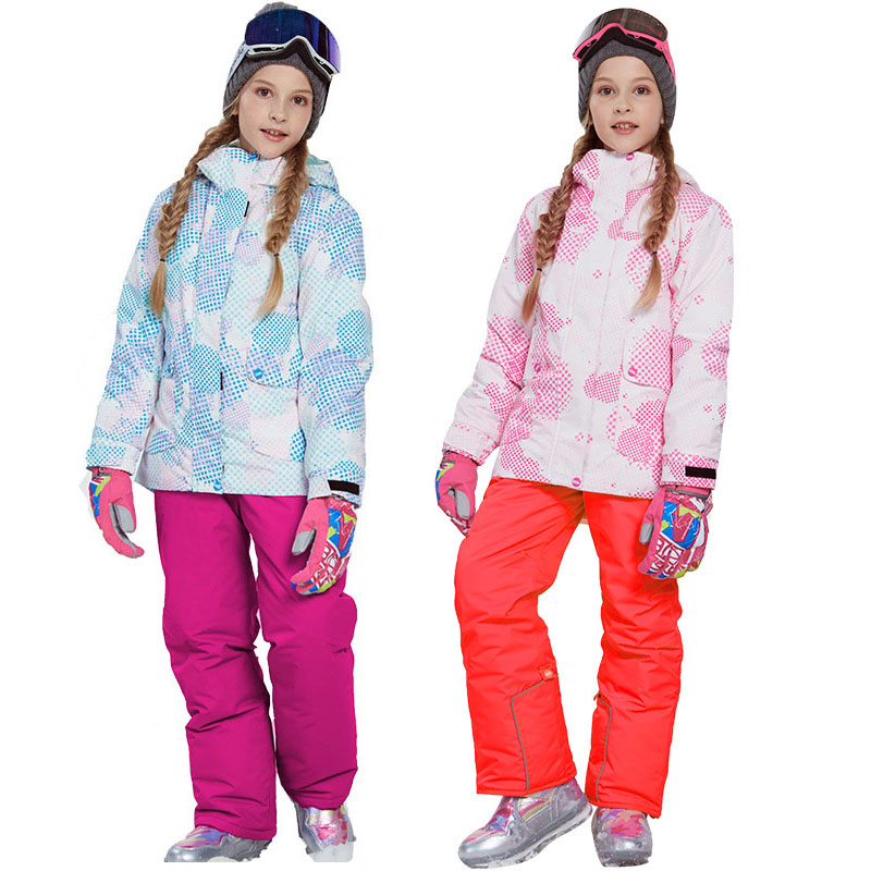 2020 Girl Winter Snow Sets Windproof Ski Jacket And Pant Outdoor Children Clothing Set Teens Kids Warm Ski Suit For Girls