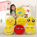 7 Styles Soft Emoji Pillow Smiley Emoticon Pillows Yellow Round Cushion Sofa Stuffed Plush Toy Children Doll