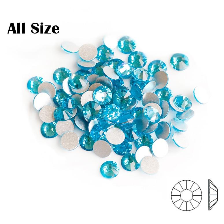 2058NoHF Aquamarine SS3 to 34 Non Hotfix Glass Rhinestones Crystal For 3D Nail Art Decoration Flatback Strass Stone