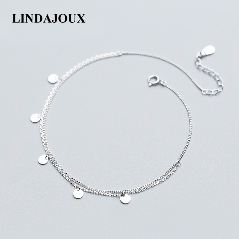 Simple Design Two Layers Polish Round Charm 925 Sterling Silver Anklet For Women Foot Chain Ankle Bracelets Summer Jewelry delicate turquoise beads spiral charm anklet for women