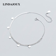 Simple Design Two Layers Polish Round Charm 925 Sterling Silver Anklet For Women Foot Chain Ankle Bracelets Summer Jewelry(China)