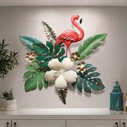 Styl skandynawski restauracja z kutego żelaza dekoracje ścienne flamingo ganek stereo salon pokoju tło wiszące Mural Ornament