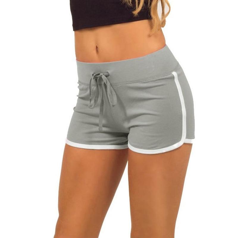 New Women Summer Shorts Elastic Drawstring Waist Contrast Binding Side Slit Casual Plus Size 3XL Workout Skinny Short Pants