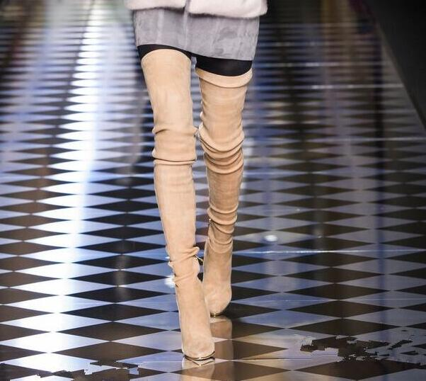 2017 Fashion Over The Knee High Thin Heels Grew Beige Suede Leather Spring Autumn Pointed Toe Sexy Women Long Boots Hot Selling hot selling beige grey suede leather over the knee boots pointed high heel side zipper tight high boots women long boots