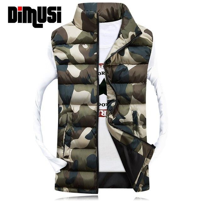 6893249cd37443e Зимний жилет Для мужчин бренд Камуфляжный жилет осень мужской верхней одежды  хлопка-проложенный жилет без