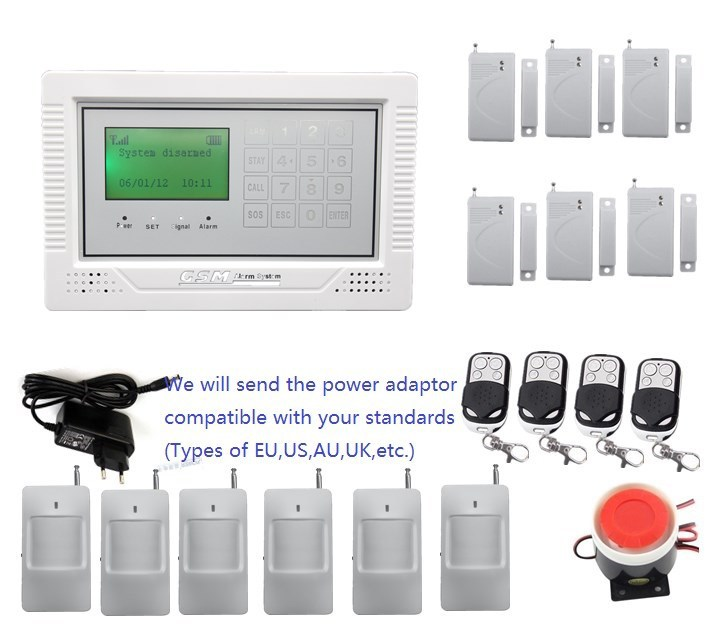 Hot sales Touch Keypad  LCD display wireless wired home security GSM alarm system 6 door magnet,6 PIR sensor,friendly interface lcd touch keypad quad4 bands wireless