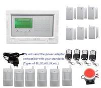 Ventas calientes Panel Touch display LCD wireless wired GSM seguridad para el hogar sistema de alarma 6 imán de la puerta, 6 sensor PIR, interfaz amigable