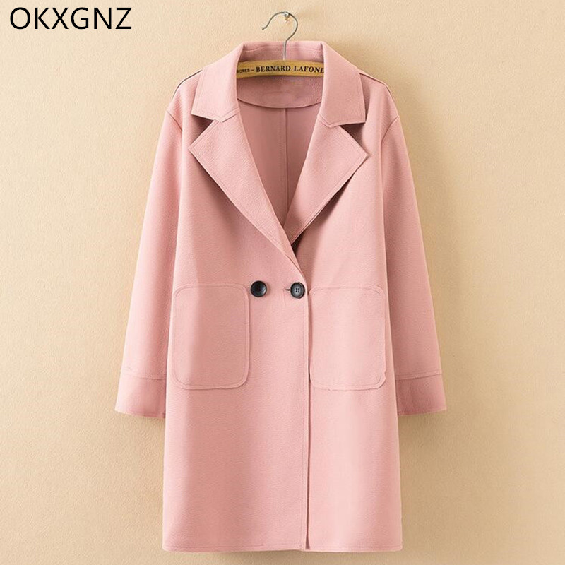 US $23 0 54% OFF|Spring Plus Size Women's 200 Pound Fat Sister Long Trench  Coat Loose Atmosphere Big Pocket Pink Black Blue Windbreaker XL 4XL-in