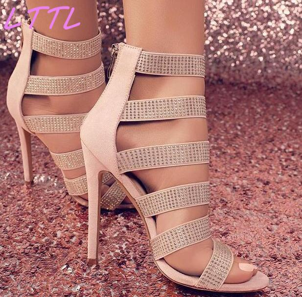 Summer New Fashion Stretch Straps Women Stud Sandals Cut Out Style Ladies Sexy High Heels Zipper Back Club Stiletto free shipping 3pcs top quality pure garcinia cambogia extracts weight loss 75