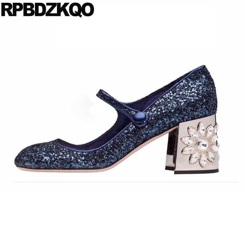 Diamond Women Thick Square Toe High Heels Pumps Flower Royal Blue Strap  Glitter Rhinestone Mary Jane 28f5976e78d0