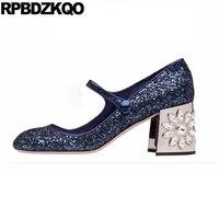 Diamond Women Thick Square Toe High Heels Pumps Flower Royal Blue Strap Glitter Rhinestone Mary Jane Crystal Bling Wedding Shoes