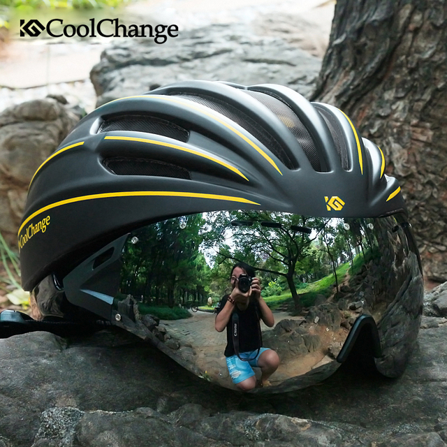 CoolChange MTB helmet with goggles glasses men and women cycling equipment integrally molded helmet