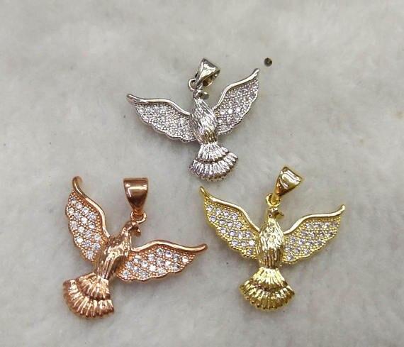 Balck Friday -- 6sets CZ Micro Pave Eagle Cham Pendant 25-40 mm Cubic Zirconia Animal Necklace Bracelet Pendant/Charm