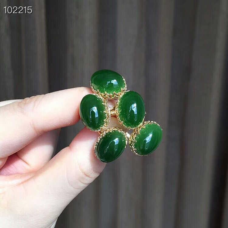 MeiBaPJ ธรรมชาติผักโขมสีเขียว Nephrite หยกชุดเครื่องประดับ 925 เงินสเตอร์ลิง 2 ชุดวิ่งสีเขียวหินเครื่องประดับสำหรับผู้หญิง