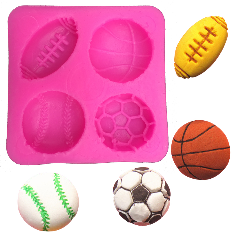 Voetbal basketbal tennis fondant siliconen mal voor keuken chocolade gebak snoep klei maken cupcake decoratie gereedschap FT-0149