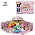 Nova Olá Kitty Casa Educacional Brinquedos De Plástico Em Miniatura Casa De Bonecas da Minha Casa Conto-Café Meninas Presentes Crianças Brinquedo casa de boneca