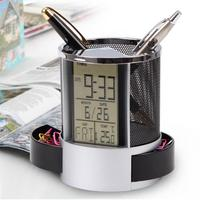 Mesh Pen Pencil Holder With Digital LCD Office Desk ALarm Clock Time Date Temp