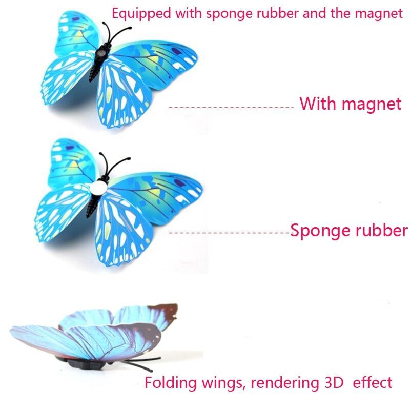 Hot sale 12st / väska 3D PVC Double Wing Butterfly Väggdekaler Hem - Heminredning - Foto 3