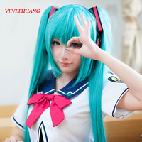 VEVEFHUANG VOCALOID Cosplay Wig Hatsune Miku Costume Play Wigs Halloween Party Anime Game Hair 150cm Aquamarine