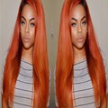 Sexy Orange Color New Style Hair  Long Ombre Peach Wig Lace Front Orange Synthetic Lace Front Straight Wig For White/Black Women