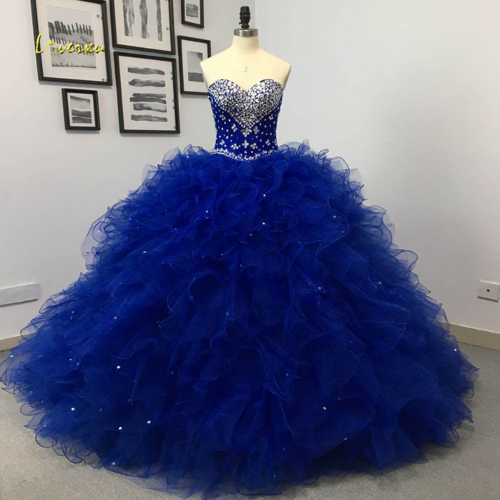 Loverxu Sexy Sweetheart Ruffles Ball Gown Quinceanera Gown 2018 Beaded Crystal Pearls Tulle Vintage Debutante Dress For 15 Year