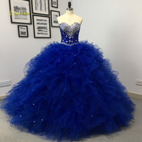 Loverxu Sexy Sweetheart Ruffles Ball Gown Quinceanera Gown 2019 Beaded Crystal Pearls Tulle Vintage Debutante Dress For 15 Year